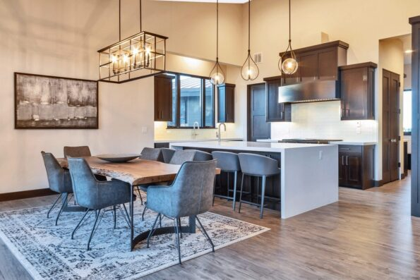 A kitchen and dining space
