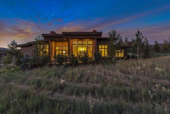 A modern home with orange lights
