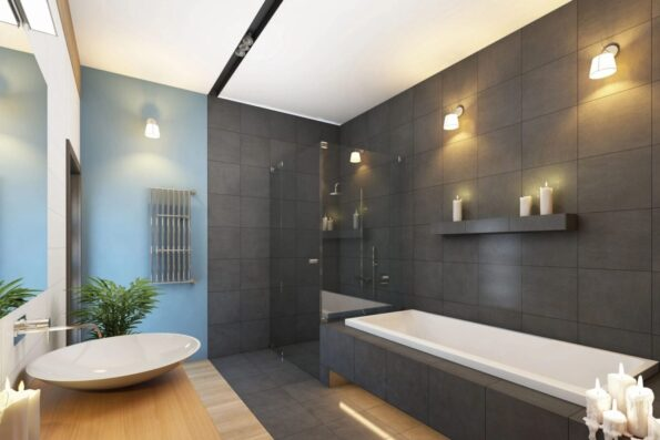 A bathroom with black and white walls